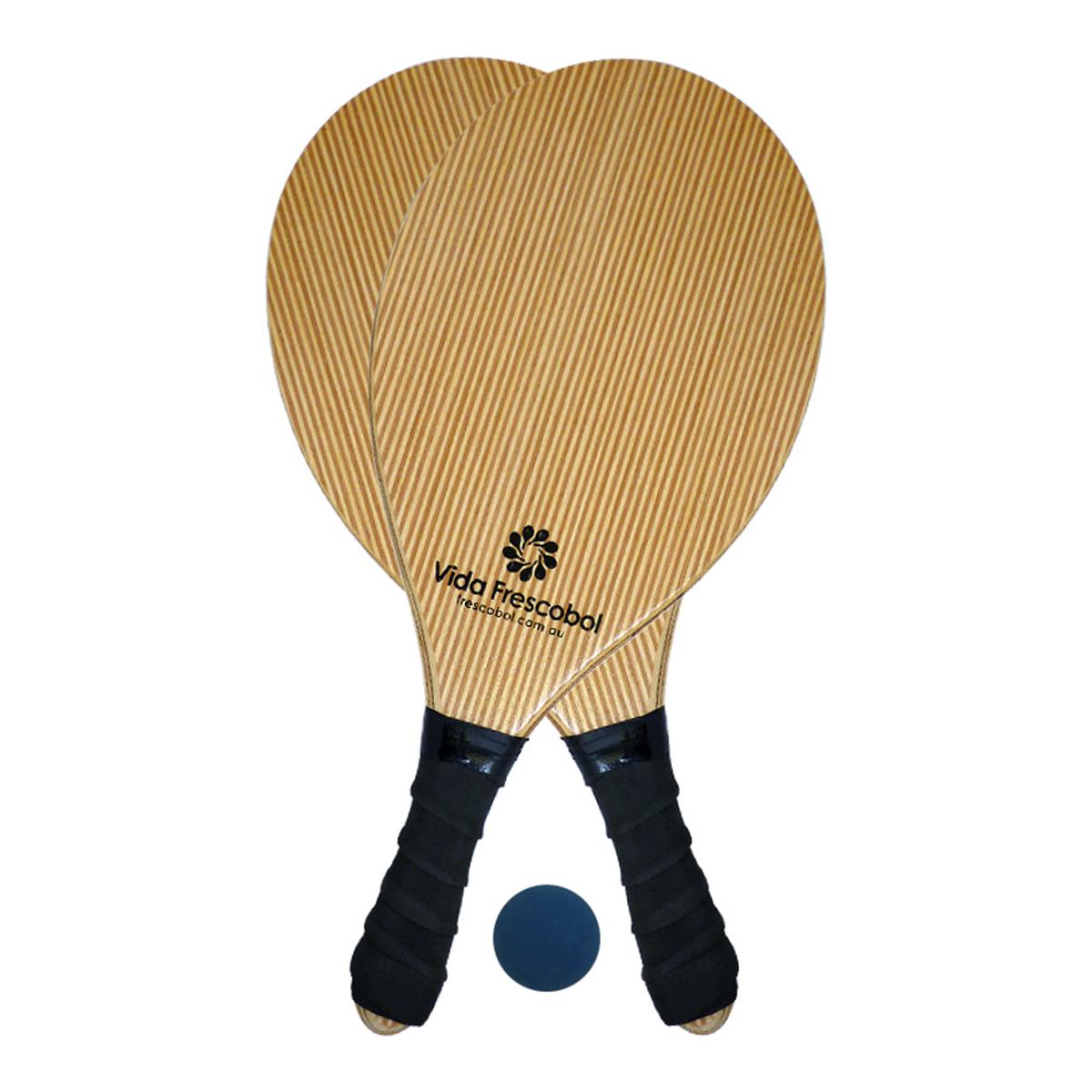 Vida Frescobol Blond Pin Stripe Beach Paddleball Racquet Set