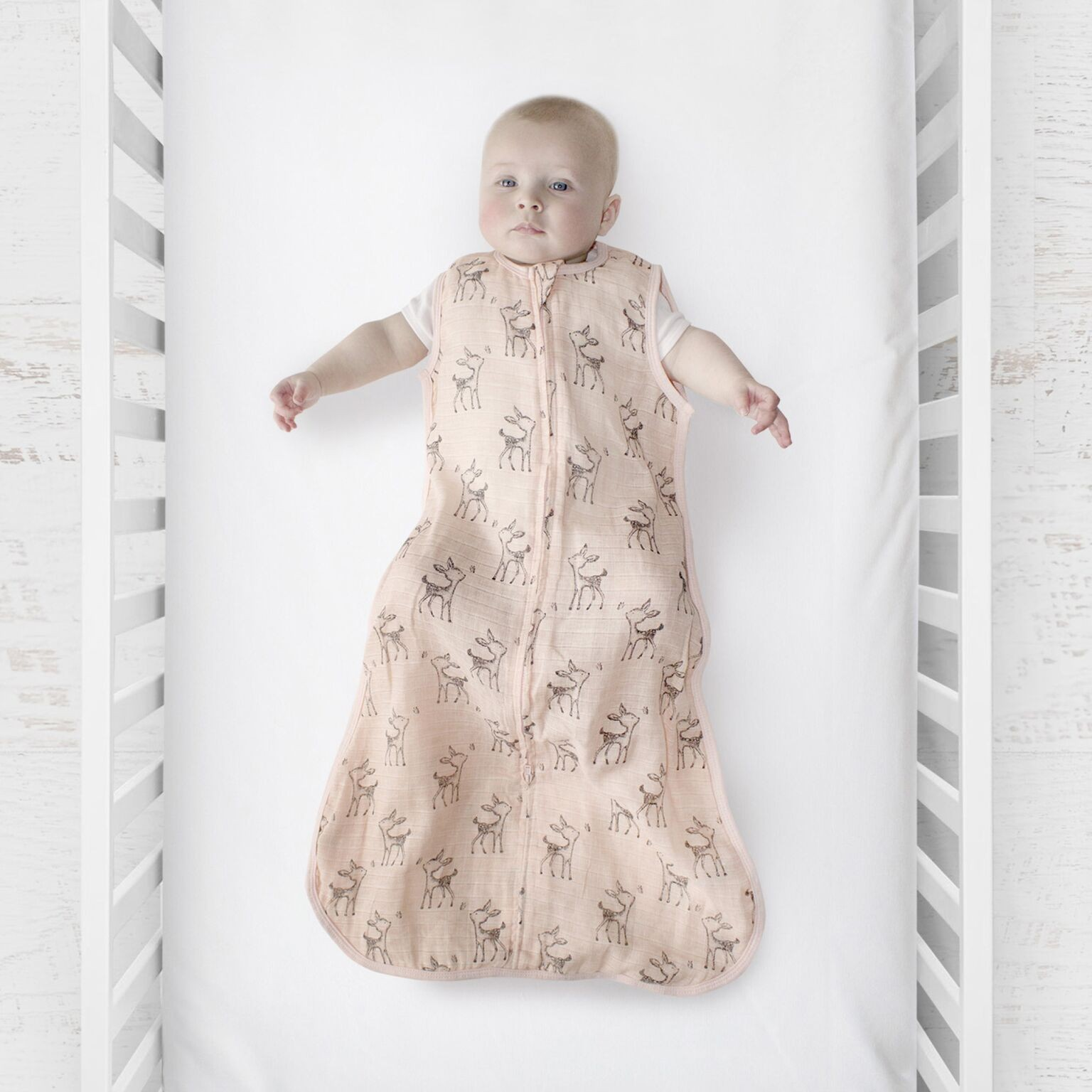 Plum Pink Deer Muslin Sleep Bag 0.5 Tog