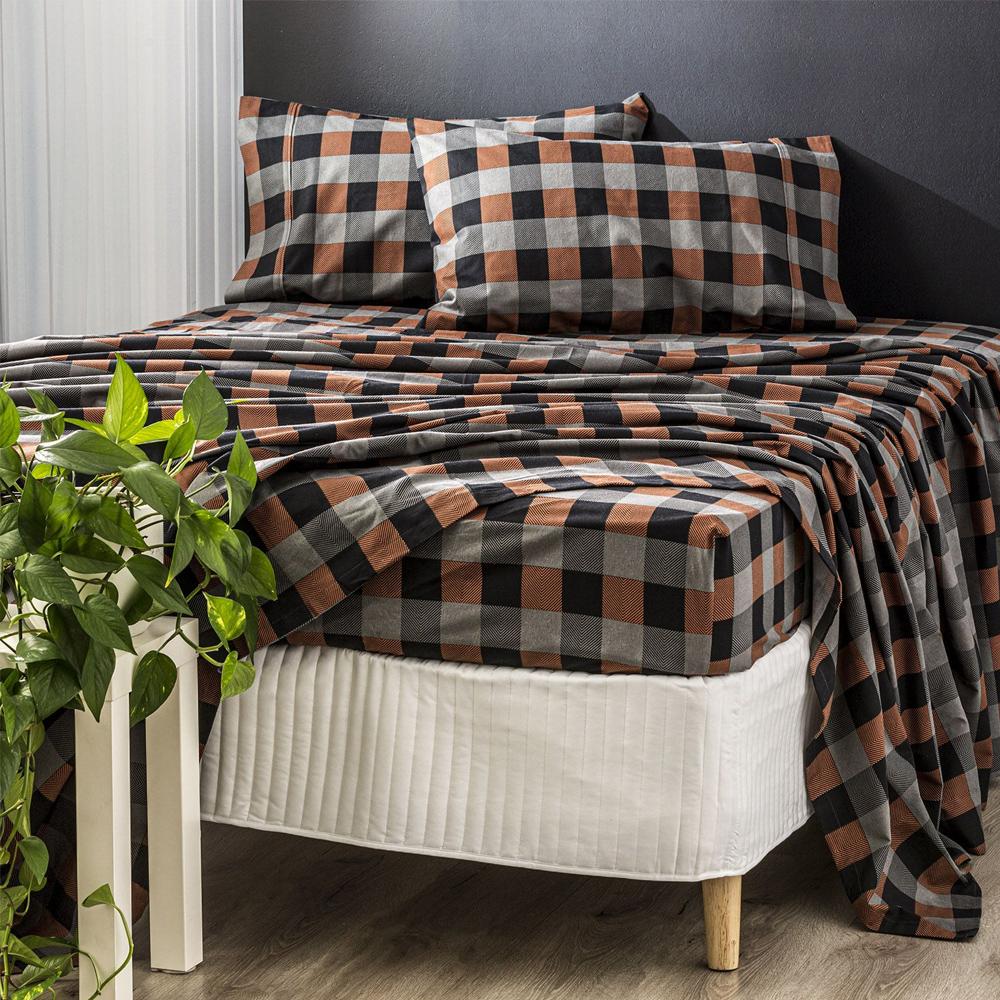 Park Avenue Plaid Egyptian Cotton Flannelette Sheet Set