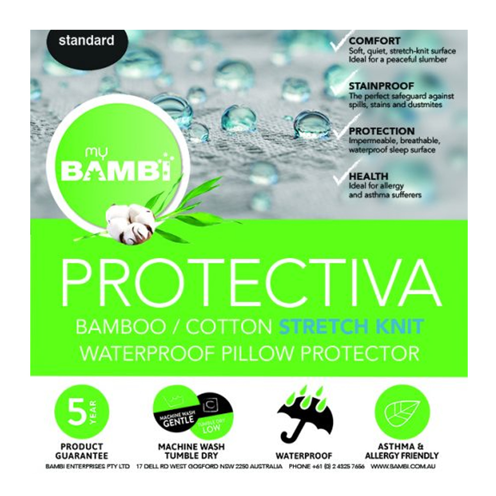 Bambi Protectiva Waterproof Stretch Knit Bamboo Cotton Pillow Protector