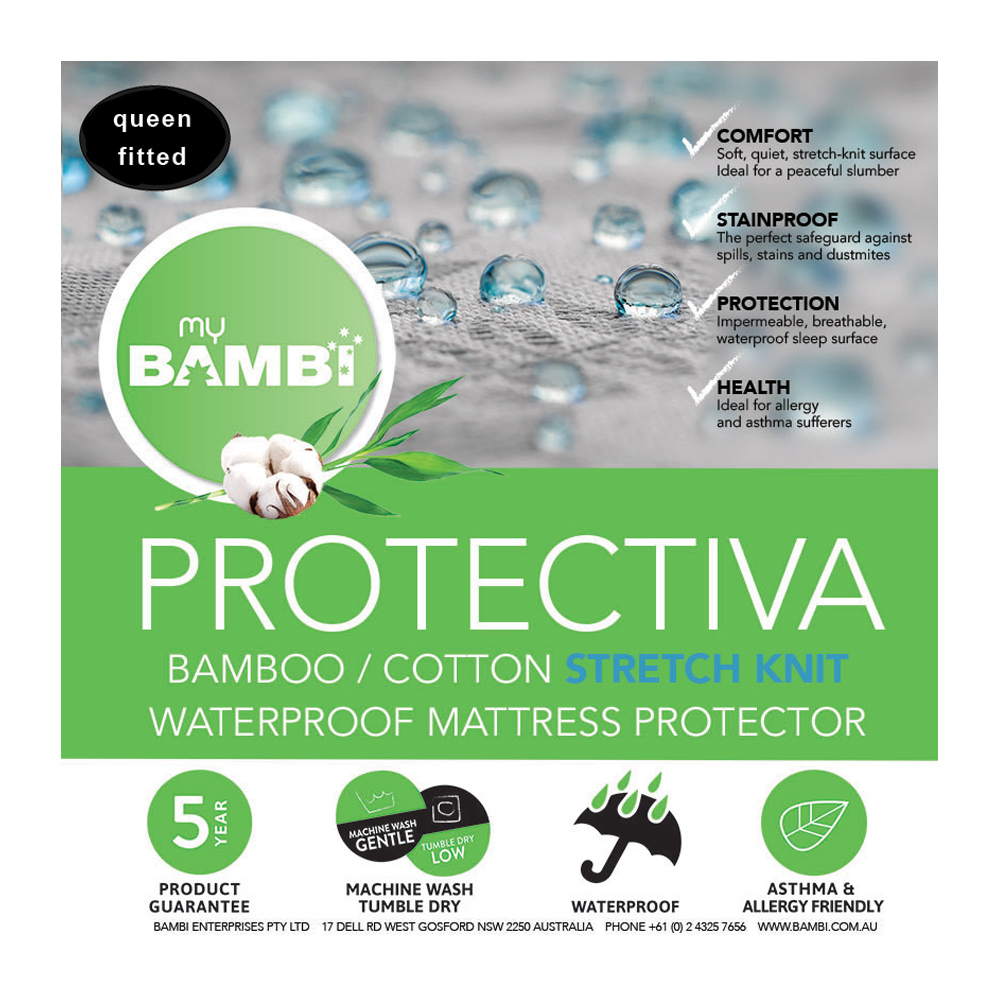 Bambi Protectiva Waterproof Stretch Knit Bamboo Cotton Mattress Protector