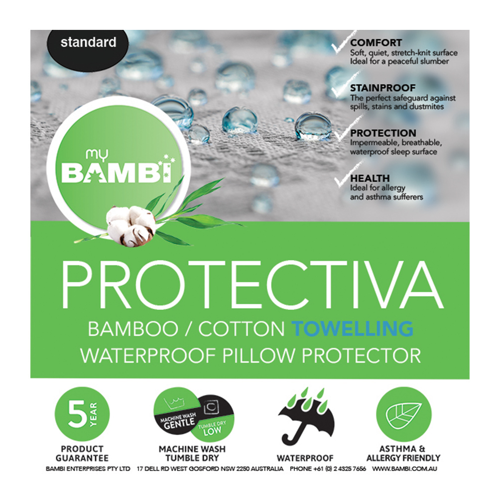 Bambi Protectiva Waterproof Towelling Bamboo Cotton Pillow Protector