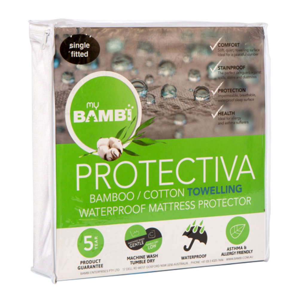 Bambi Protectiva Waterproof Towelling Bamboo Cotton Mattress Protector