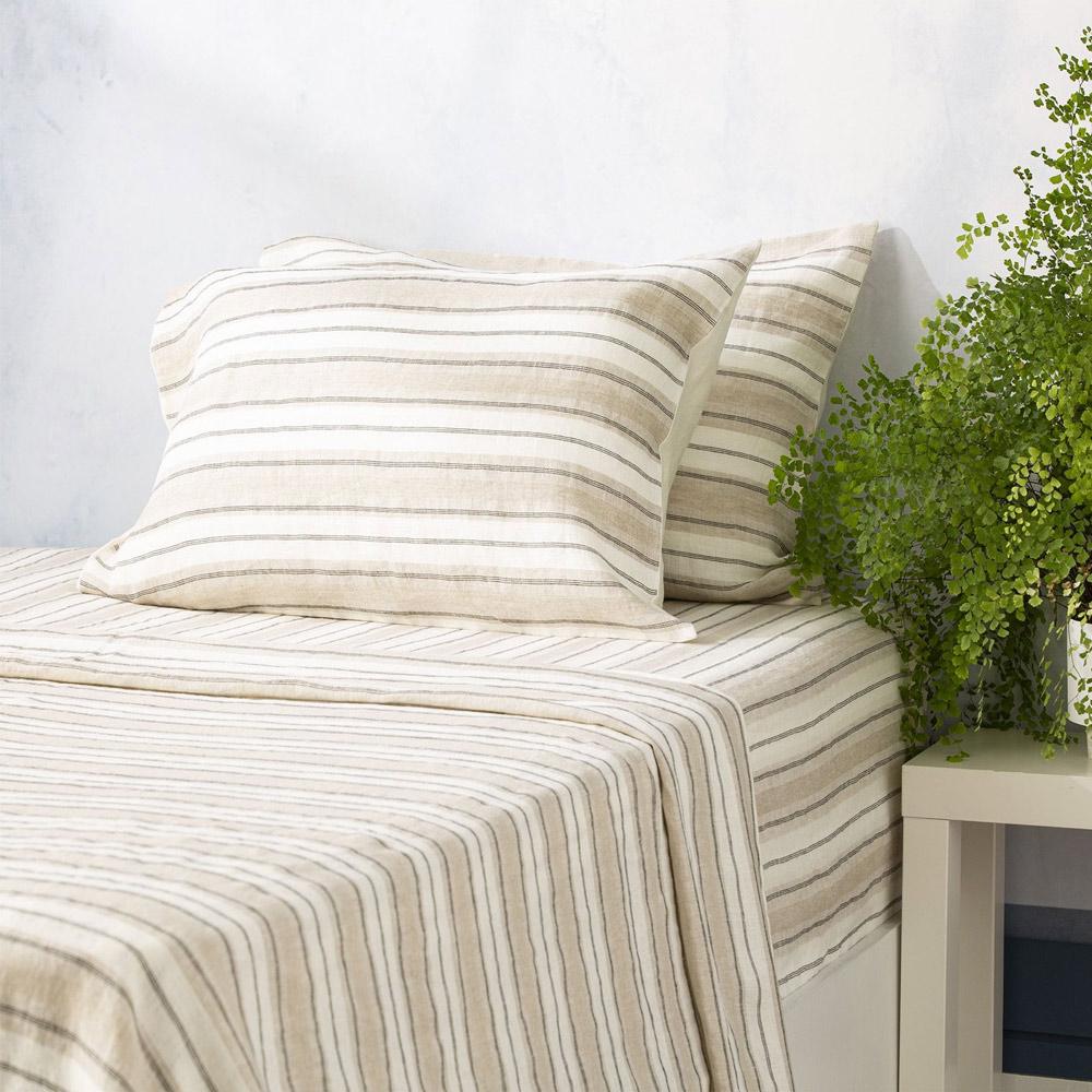 Renee Taylor Bardot Yarn Dyed 100% French Linen Sheet Set