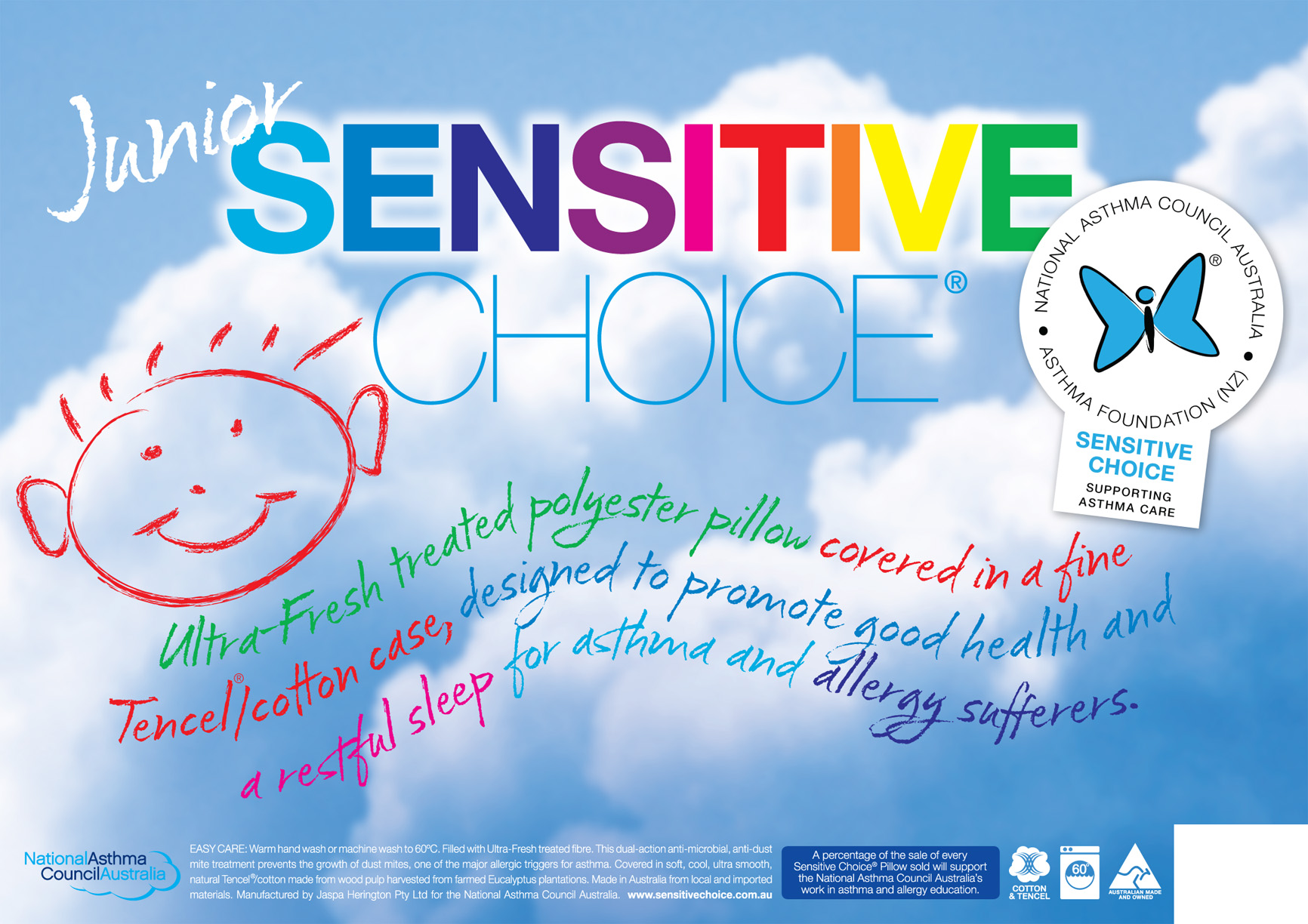 Sensitive Choice Hypoallergenic Allergy Friendly Kids Pillow