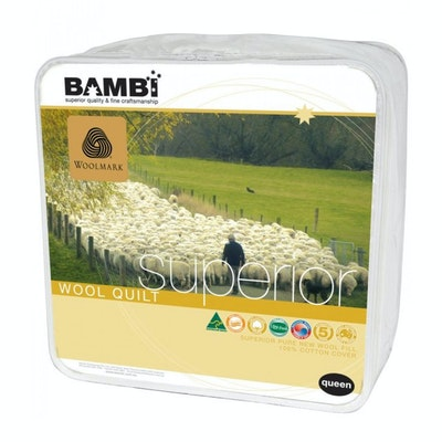 Bambi Gold Woolmark Superior Wool Quilt 300 to 730 gsm options
