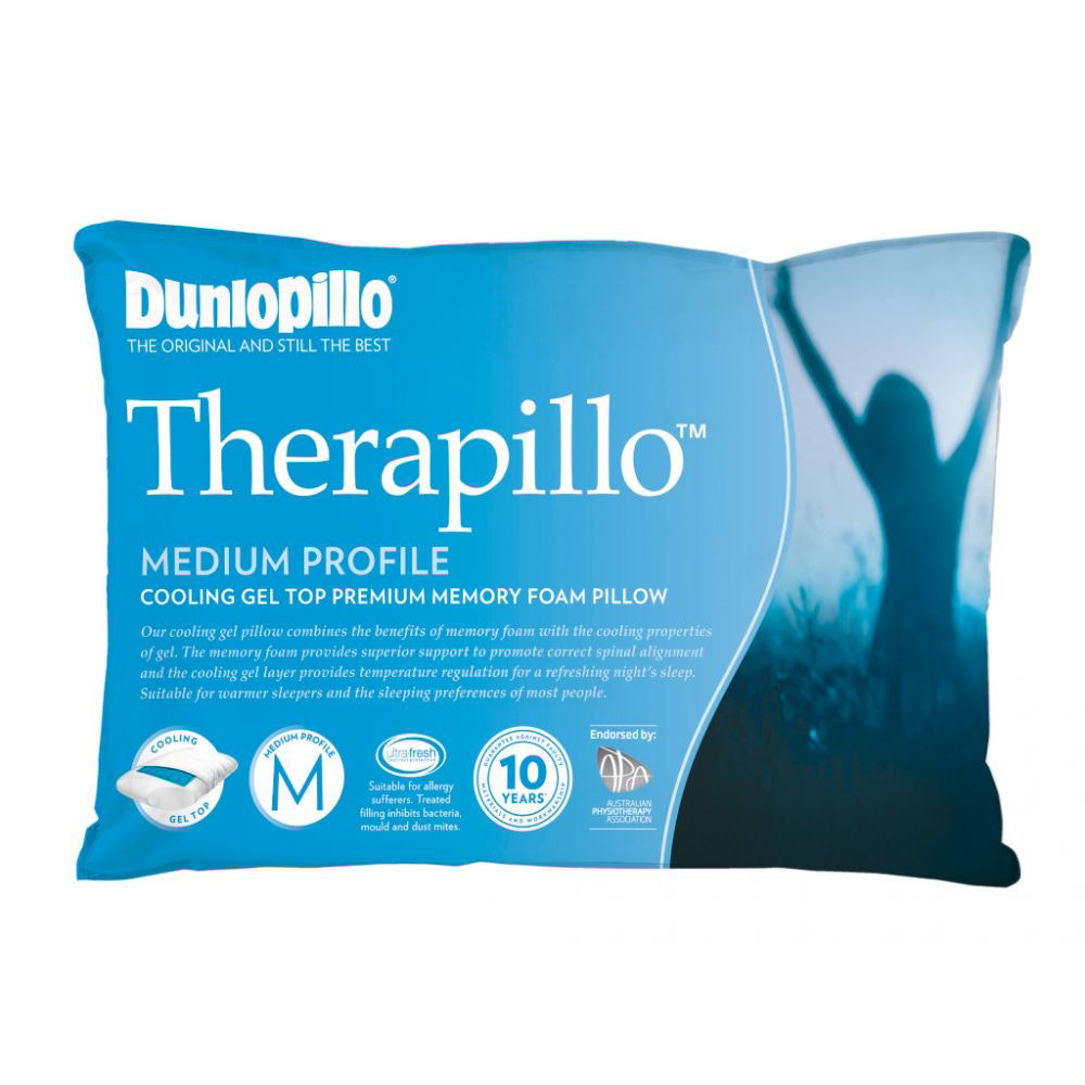 Dunlopillo Therapillo Premium Memory Foam Cooling Gel Pillow Medium Profile