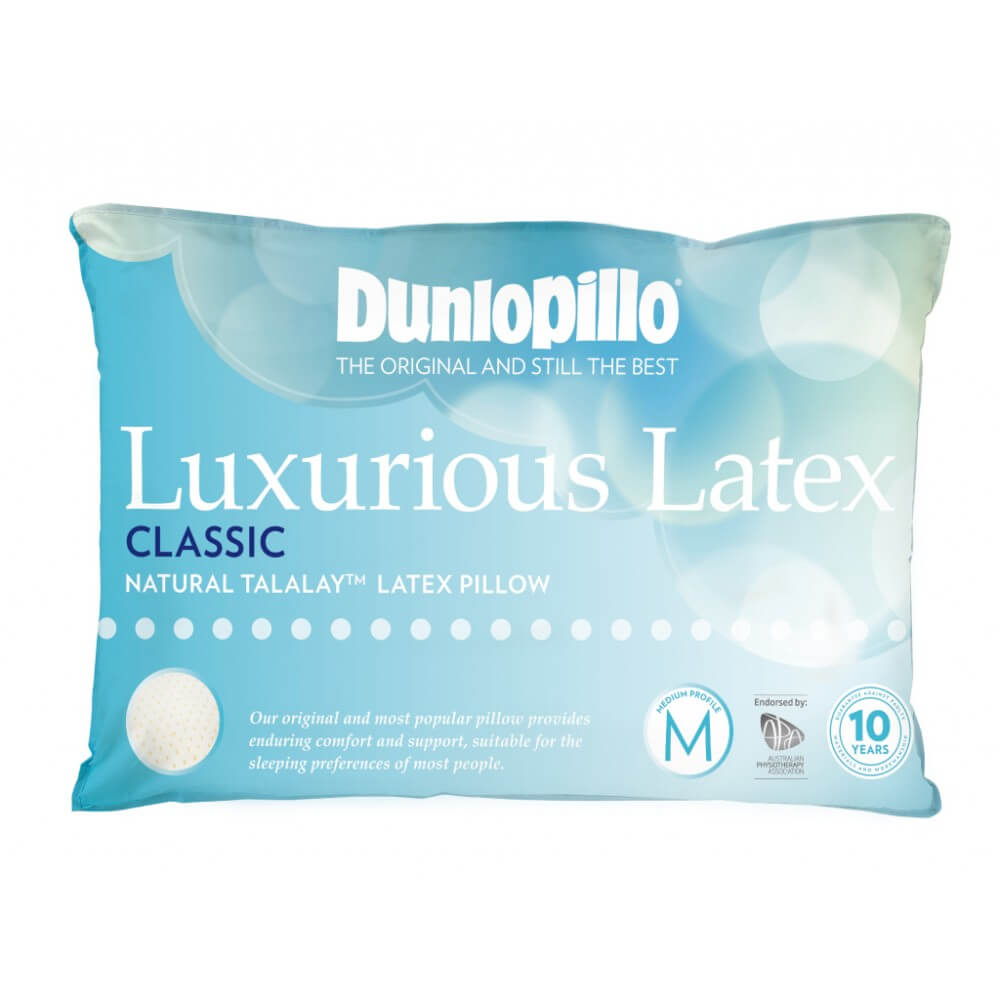 Dunlopillo Luxurious Classic Latex Pillow Medium Profile and Medium Feel