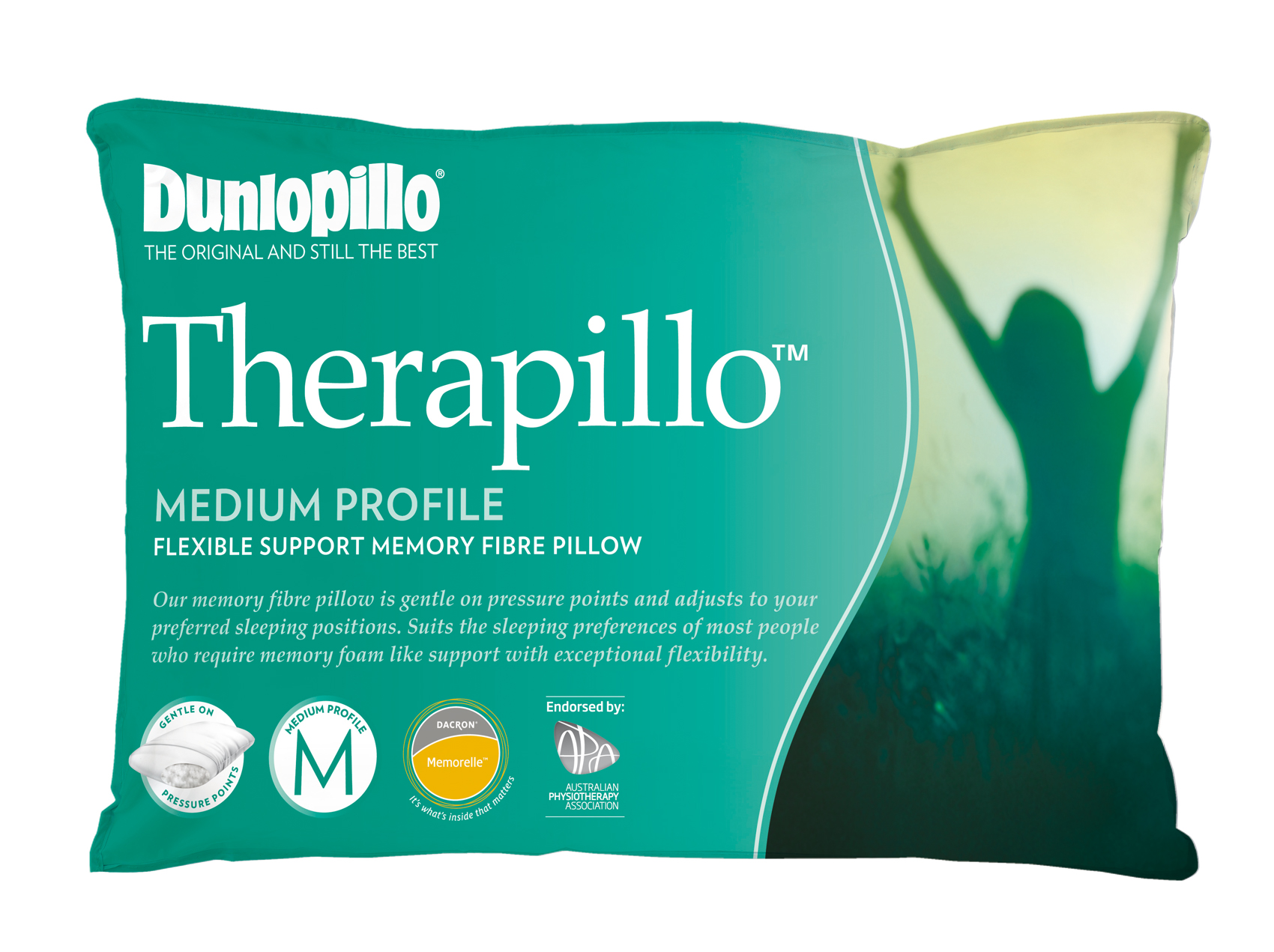 Dunlopillo Therapillo Flexible Support Memory Fibre Pillow Medium Profile
