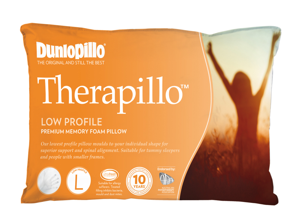 Dunlopillo Therapillo Premium Memory Foam Pillow Low Profile