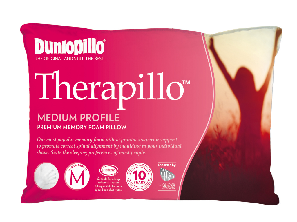 Dunlopillo Therapillo Premium Memory Foam Pillow Medium Profile