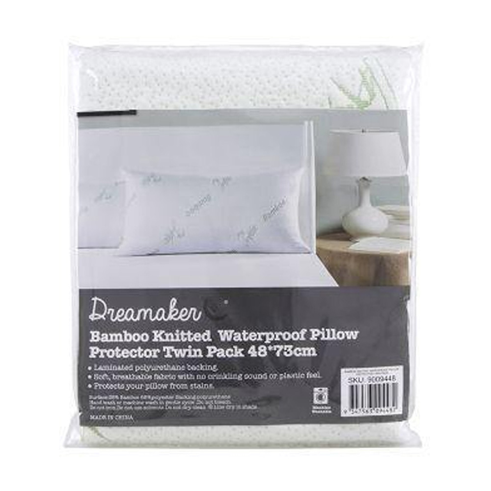 Waterproof Bamboo Knitted Pillow Protector Twin Pack